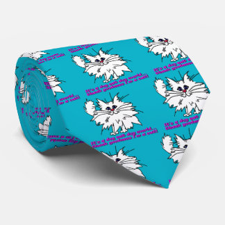 El perro ingenioso del gatito come el mundo del corbata personalizada