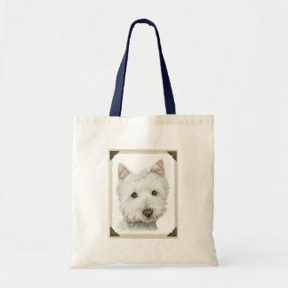 El perro lindo de Westie con los bordes de papel r Bolsa Tela Barata