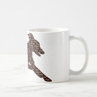 """El """"perro marrón rápido"""" salta sobre el """"zorro taza de café"""