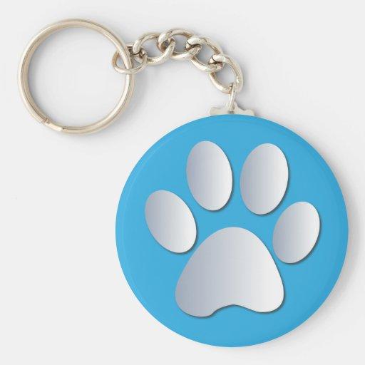 El perro o el gato de Pawprint acaricia el siliver Llavero Personalizado