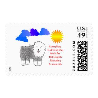 El perro pastor inglés viejo cada día es un buen sello