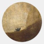 El perro (pinturas negras) por Francisco Goya 1820 Pegatina Redonda
