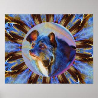 El perro que adora observa arte animal abstracto póster