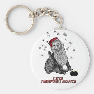 El perro que pica en el navidad llavero redondo tipo pin