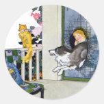 El perro revienta la puerta de malla para pegatina redonda