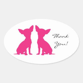 El perro rosado de la chihuahua le agradece los pegatina ovalada