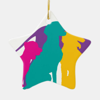 El perro siluetea color adorno de cerámica en forma de estrella