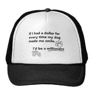 El perro sonríe millonario gorro de camionero