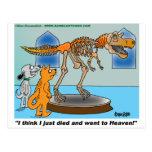 El perro y el gato en museo ven el esqueleto del d tarjeta postal