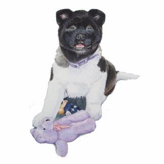 El perro y el peluche lindos de perrito de Akita e Escultura Fotografica