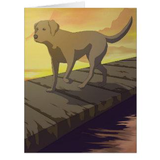 El perro y su reflexión tarjeta de felicitación grande