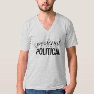 El personal es cuello en v gris unisex político playera