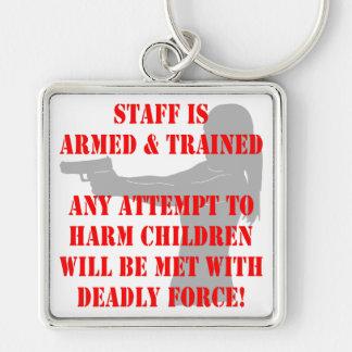 El personal es tentativa armada y entrenada de dañ llavero cuadrado plateado