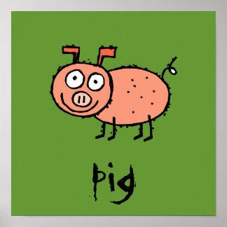 El personalizable enrrollado del cerdo de la granj poster