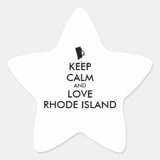 El personalizable GUARDA CALMA y AMA RHODE ISLAND Pegatina En Forma De Estrella
