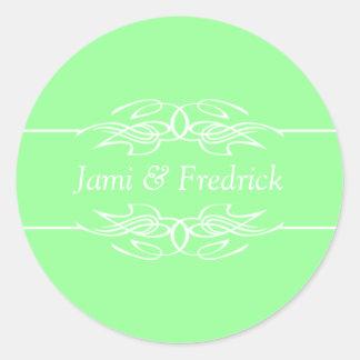 El personalizable invita a verde menta pegatina redonda