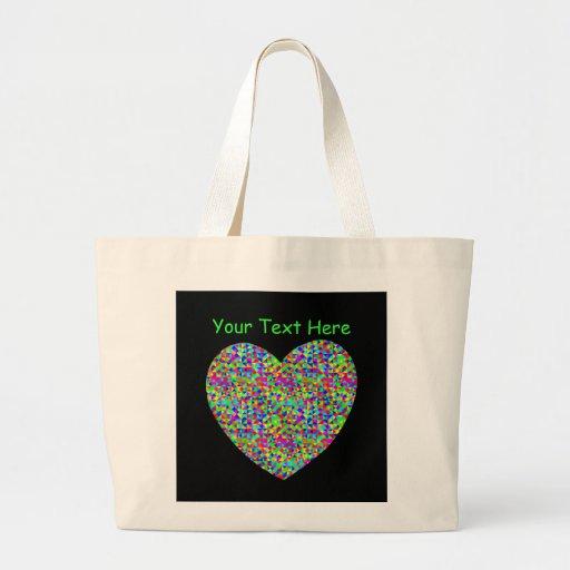 El personalizable personalizó diseño del corazón d bolsa tela grande