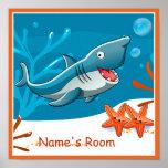 El personalizado acuático lindo del tiburón impresiones