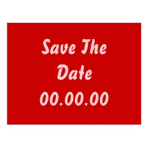 El personalizado, ahorra la fecha. Rojo y rosa Postal