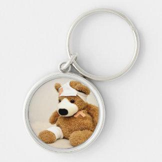 el personalizado animal del oso de peluche llavero redondo plateado
