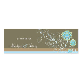 El personalizado azul de los remolinos de la flor tarjetas de visita mini