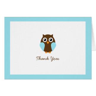 El personalizado azul del búho doblado le agradece tarjeta pequeña