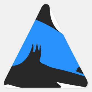 El personalizado casero de la oficina del tiburón pegatina triangular