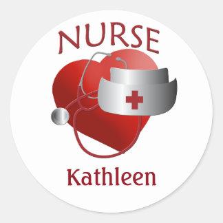 El personalizado conocido de la enfermera cuida al pegatina redonda