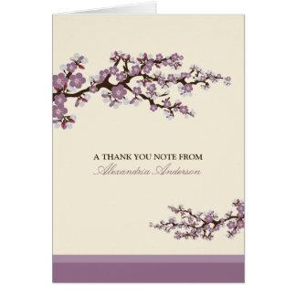 El personalizado de la flor de cerezo le agradece felicitaciones