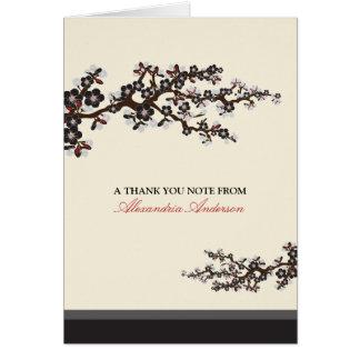 El personalizado de la flor de cerezo le agradece tarjeta