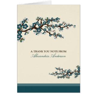 El personalizado de la flor de cerezo le agradece  tarjeta pequeña