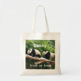 El personalizado de la panda gigante personaliza bolsa tela barata