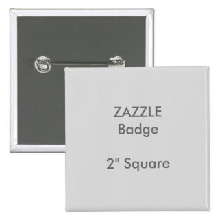 """El personalizado de ZAZZLE imprimió 2"""" GRIS Pin Cuadrado"""