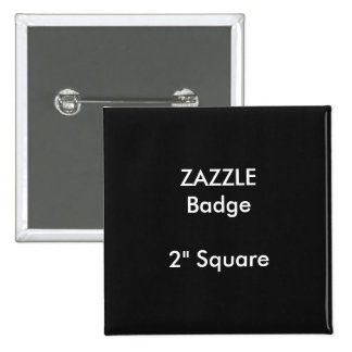 """El personalizado de ZAZZLE imprimió 2"""" NEGRO Pin Cuadrado"""
