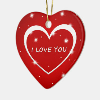 el personalizado del amor del corazón personaliza adorno navideño de cerámica en forma de corazón