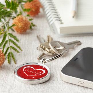 el personalizado del amor del corazón personaliza llavero redondo plateado