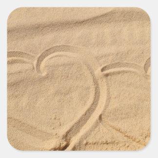 el personalizado del amor del corazón personaliza pegatina cuadrada