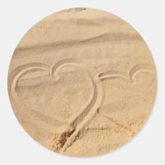 el personalizado del amor del corazón personaliza pegatina redonda