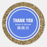 El personalizado del azul real del brillo del oro etiquetas redondas