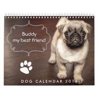 El personalizado del calendario 2016 del perro