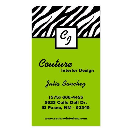 El personalizado del estampado de zebra de la cal  plantilla de tarjeta personal