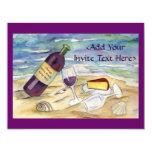 El personalizado del fiesta de la playa del vino invitacion personalizada
