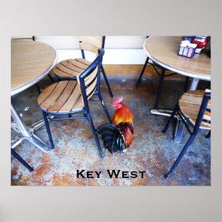El personalizado del gallo del café de Key West Póster
