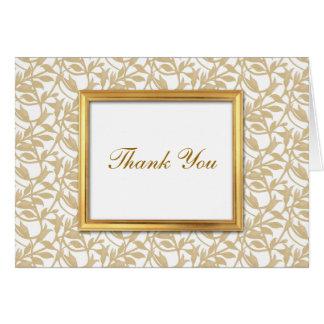 El personalizado del marco del oro le agradece car tarjeta pequeña