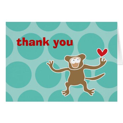 el personalizado del mono del dibujo animado del f felicitación