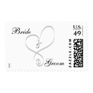 El personalizado del novio de la novia del corazón sellos