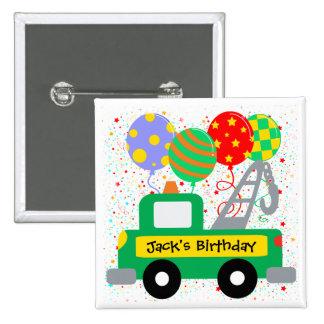 El personalizado embroma cumpleaños del camión pins