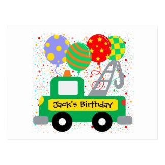 El personalizado embroma cumpleaños del camión postales