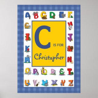 El personalizado embroma nombre/alfabeto póster