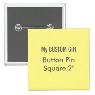 """El personalizado imprimió 2"""" AMARILLO cuadrado del Pin Cuadrado"""